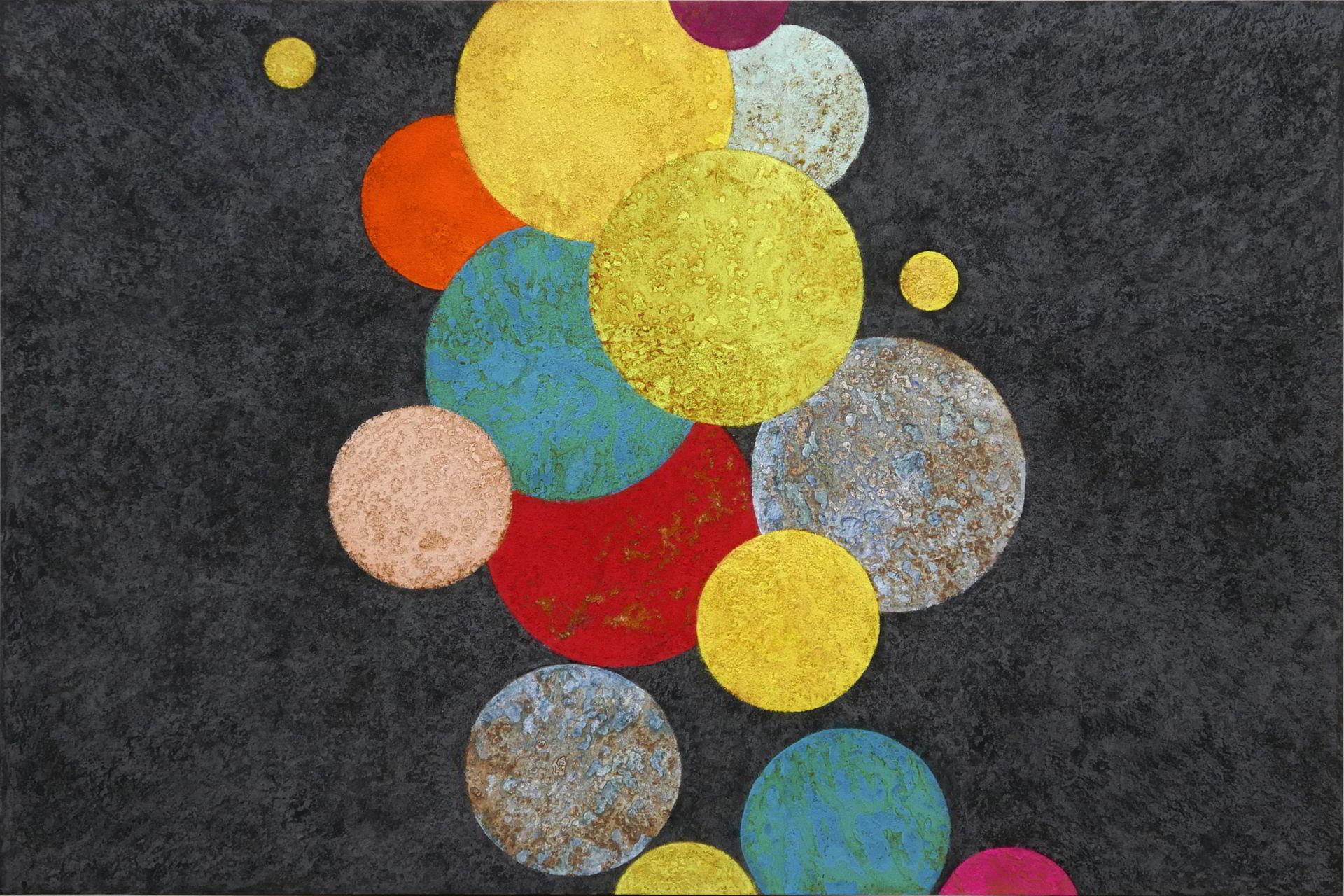 Beatriz von Eidlitz, hie und da, 2017, Pigmente und Oxyde auf Eisen, 80 x 120 cm